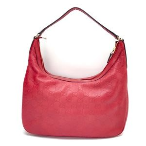 GUCCI Charmy GUCCISSIMA Hobo Red Leather Bag Auth.